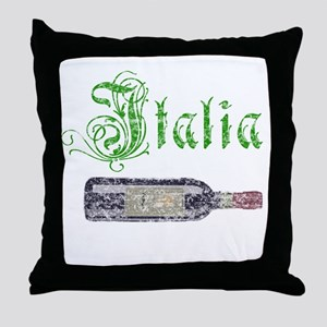Italian Wine Bottle Vintage Throw Pillow