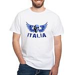 Italy Blue Skull White T-Shirt