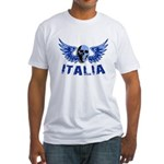 Italy Blue Skull Fitted T-Shirt