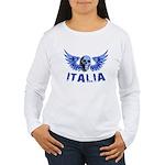 Italy Blue Skull Women's Long Sleeve T-Shirt