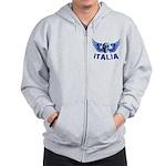 Italy Blue Skull Zip Hoodie