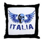 Italy Blue Skull Throw Pillow