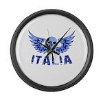 Italy Blue Skull Large Wall Clock