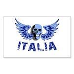 Italy Blue Skull Rectangle Sticker