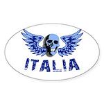 Italy Blue Skull Oval Sticker
