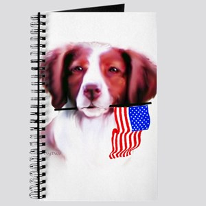 Brittany Spaniel with flag Journal