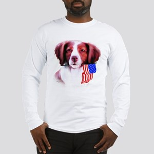 Brittany Spaniel with flag Long Sleeve T-Shirt