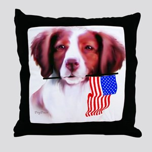 Brittany Spaniel with flag Throw Pillow