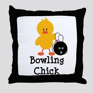 Bowling Chick Throw Pillow