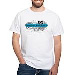 Grimm Apparel's Blue Logo White T-Shirt