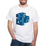 Blue Cubes White T-Shirt