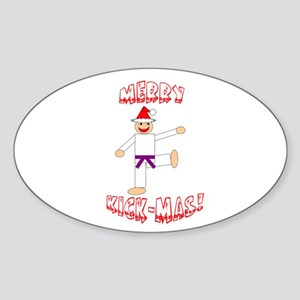 Martial Arts Christmas Oval Sticker