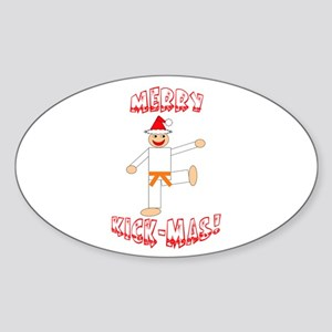 Martial Arts Christmas Oval Sticker