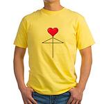 One Heart Love Umbrella2 Yellow T-Shirt