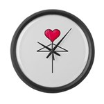 One Heart Love Umbrella2 Large Wall Clock