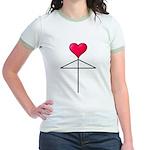 One Heart Love Umbrella2 Jr. Ringer T-Shirt