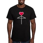 One Heart Love Umbrella2 Men's Fitted T-Shirt (dar