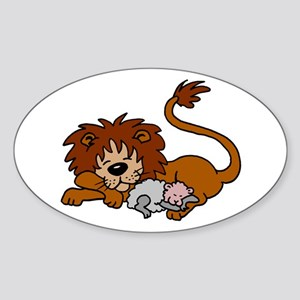 Lion and Lamb Oval Sticker