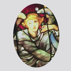 A Tiffany Stained Glass Angel Oval Ornament
