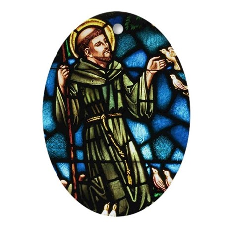 St Francis Oval Ornament