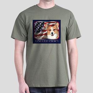 Welsh Corgi United Paws USA Flag Dark T-Shirt