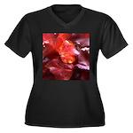 Red Leaves Women's Plus Size V-Neck Dark T-Shirt
