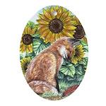 Sun Fox Oval Ornament