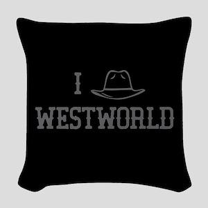 I Black Hat Westworld Woven Throw Pillow