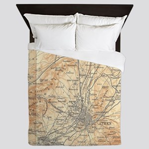 Vintage Map of Athens Greece (1908) Queen Duvet