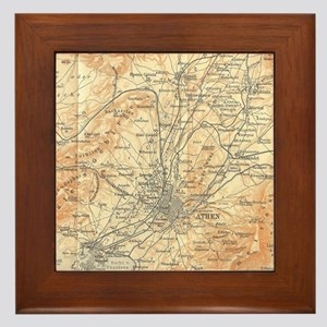 Vintage Map of Athens Greece (1908) Framed Tile