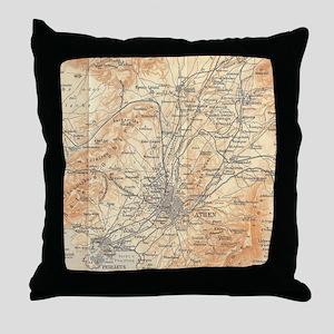 Vintage Map of Athens Greece (1908) Throw Pillow