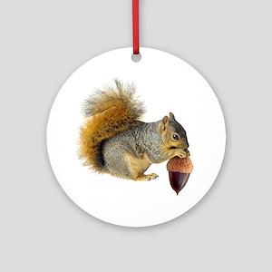 Squirrel Eating Acorn Ornament (Round)
