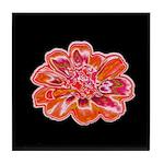 Minky Flower Ceramic Tile Coaster (black/red)
