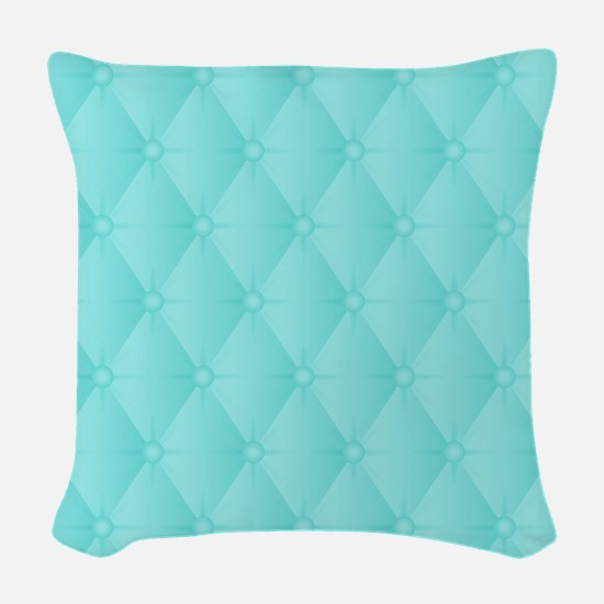 Robins Egg Blue Quilted Texture Woven Throw Pillow
