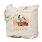Chickadee on Birdhouse Tote Bag