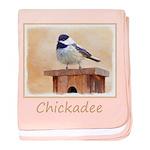 Chickadee on Birdhouse baby blanket