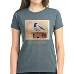 Chickadee on Birdhouse Women's Dark T-Shirt