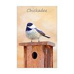 Chickadee on Birdhouse Mini Poster Print
