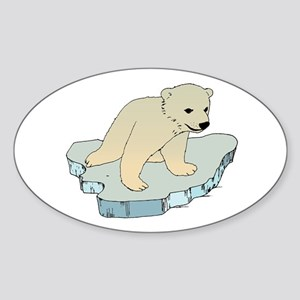 Polar Bear Iceberg Oval Sticker