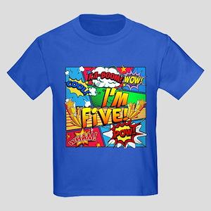 I'm Five Comic Book Kids Dark T-Shirt