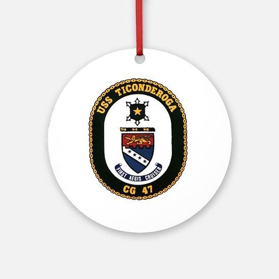 USS Ticonderoga CG 47 USS Navy Ship Ornament (Roun