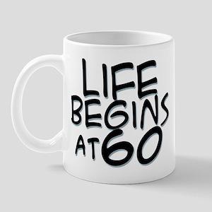 60th birthday life begins black Mug