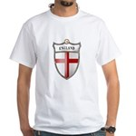 St George Cross Shield of Eng White T-Shirt