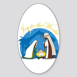 Nativity Scene Oval Sticker