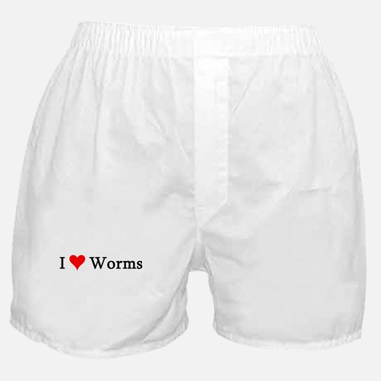 I Love Worms Boxer Shorts