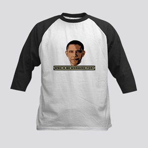 """Who is Obama working for?"" Kids Baseball Jersey"