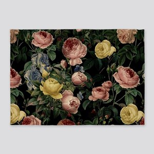 Vintage rose garden at night 5'x7'Area Rug