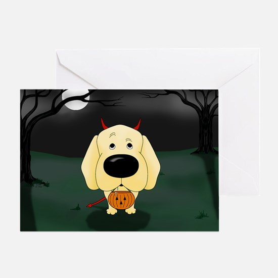 Yellow Lab Devil Halloween Greeting Card