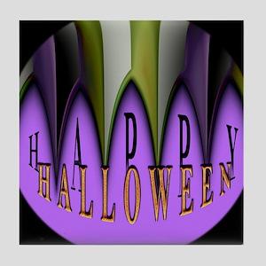 Purple Halloween Teeth Tile Coaster