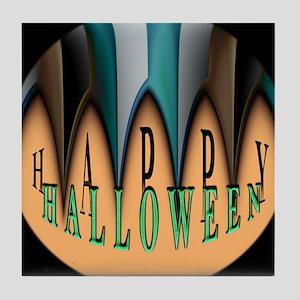 Orange Halloween Teeth Tile Coaster